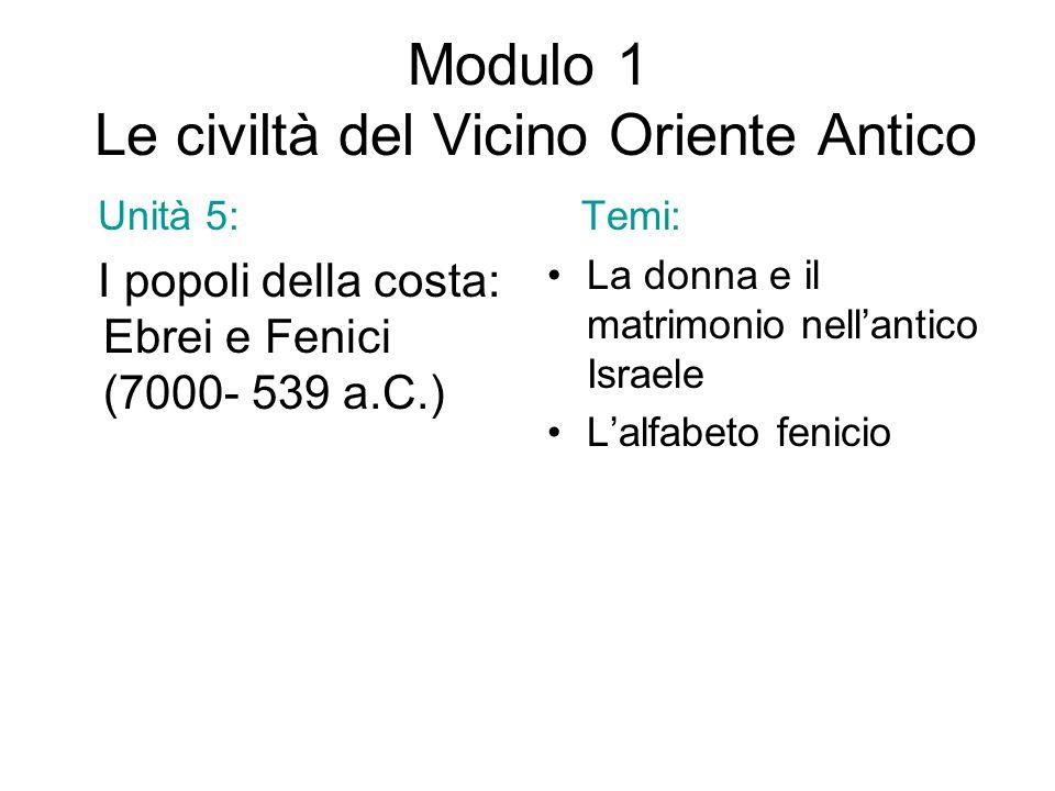 Modulo 1 Le civiltà del Vicino Oriente Antico