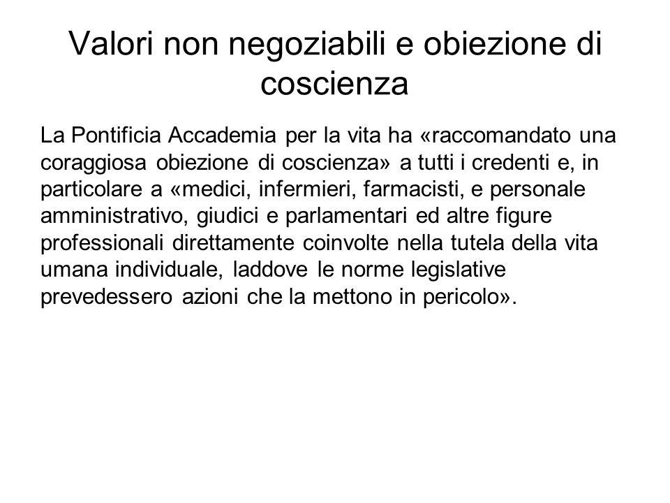 Valori non negoziabili e obiezione di coscienza