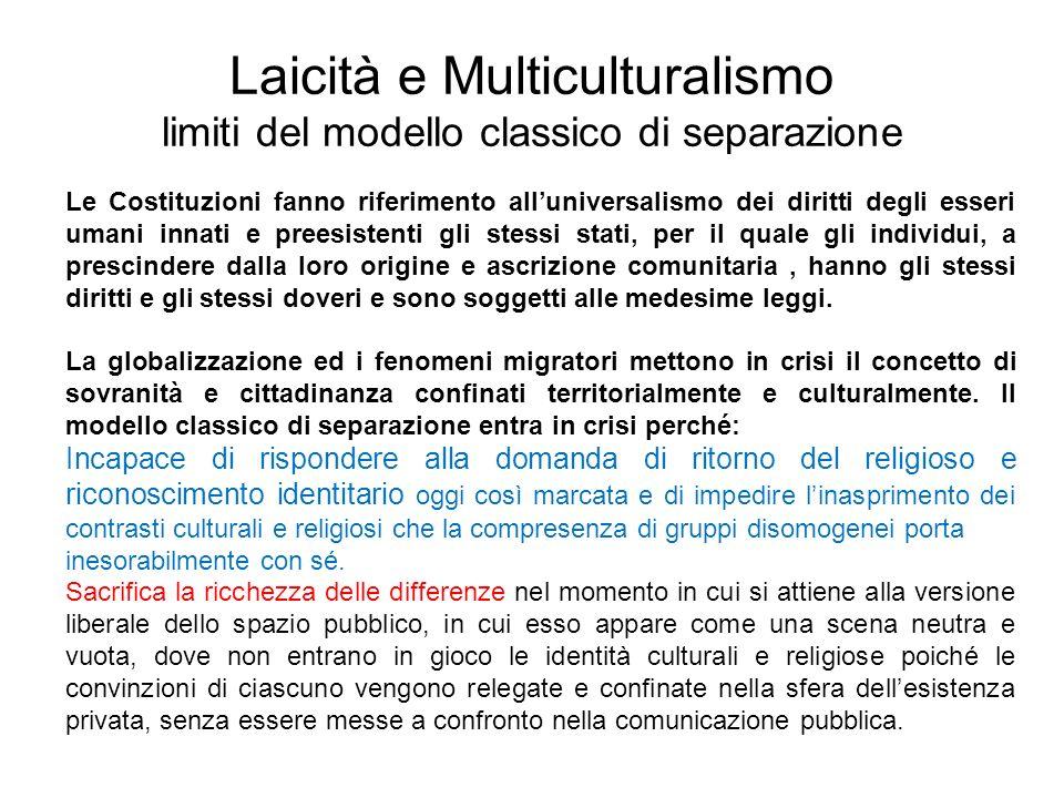 Laicità e Multiculturalismo limiti del modello classico di separazione