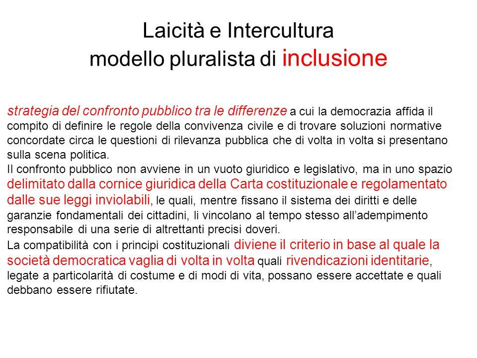 Laicità e Intercultura modello pluralista di inclusione