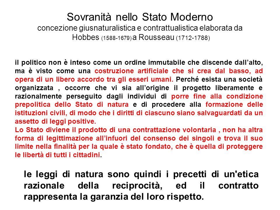 Sovranità nello Stato Moderno concezione giusnaturalistica e contrattualistica elaborata da Hobbes (1588-1679) a Rousseau (1712-1788)