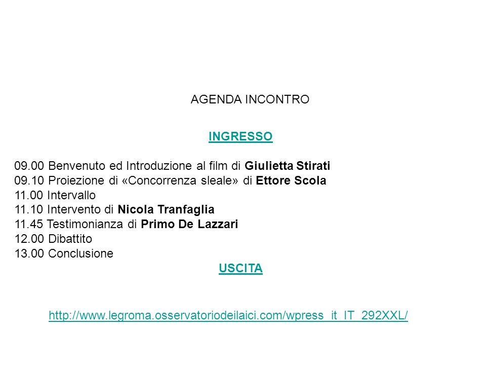 AGENDA INCONTRO INGRESSO. 09.00 Benvenuto ed Introduzione al film di Giulietta Stirati. 09.10 Proiezione di «Concorrenza sleale» di Ettore Scola.