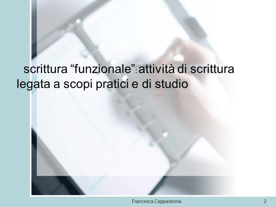 scrittura funzionale : attività di scrittura legata a scopi pratici e di studio