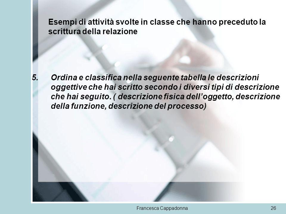 Esempi di attività svolte in classe che hanno preceduto la scrittura della relazione