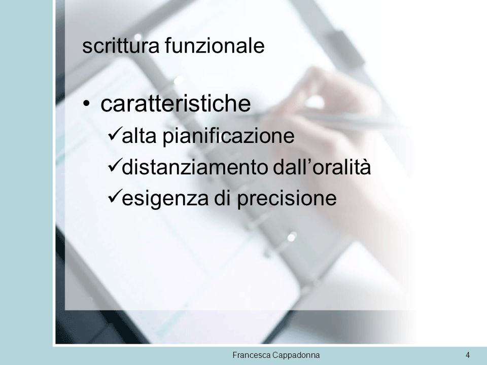 caratteristiche scrittura funzionale alta pianificazione