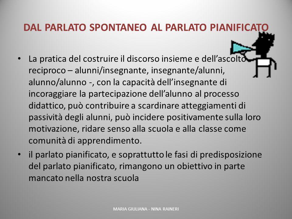 DAL PARLATO SPONTANEO AL PARLATO PIANIFICATO