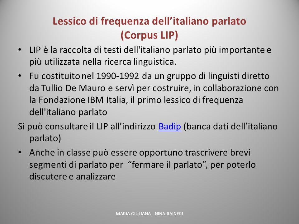 Lessico di frequenza dell'italiano parlato (Corpus LIP)
