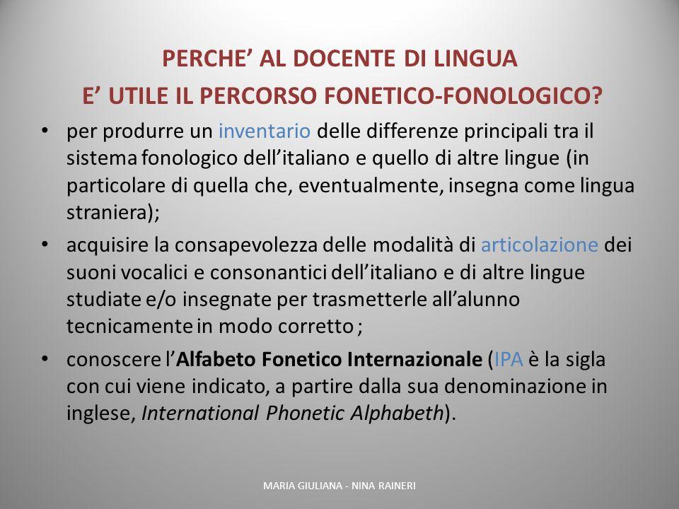 PERCHE' AL DOCENTE DI LINGUA E' UTILE IL PERCORSO FONETICO-FONOLOGICO