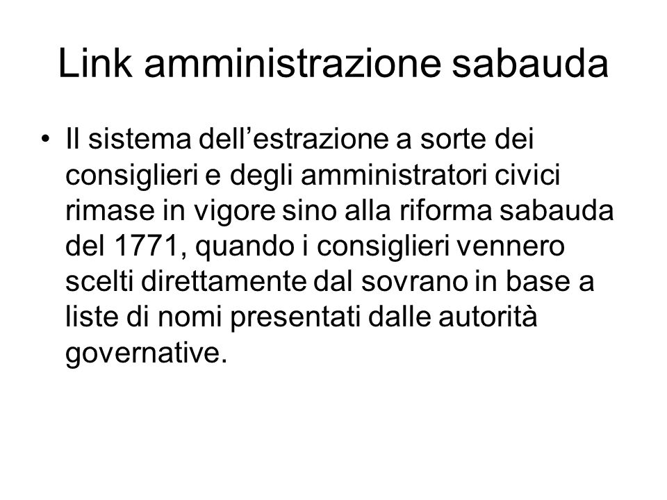Link amministrazione sabauda