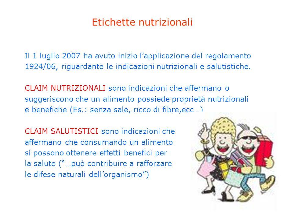 Etichette nutrizionali