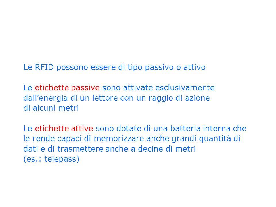 Le RFID possono essere di tipo passivo o attivo