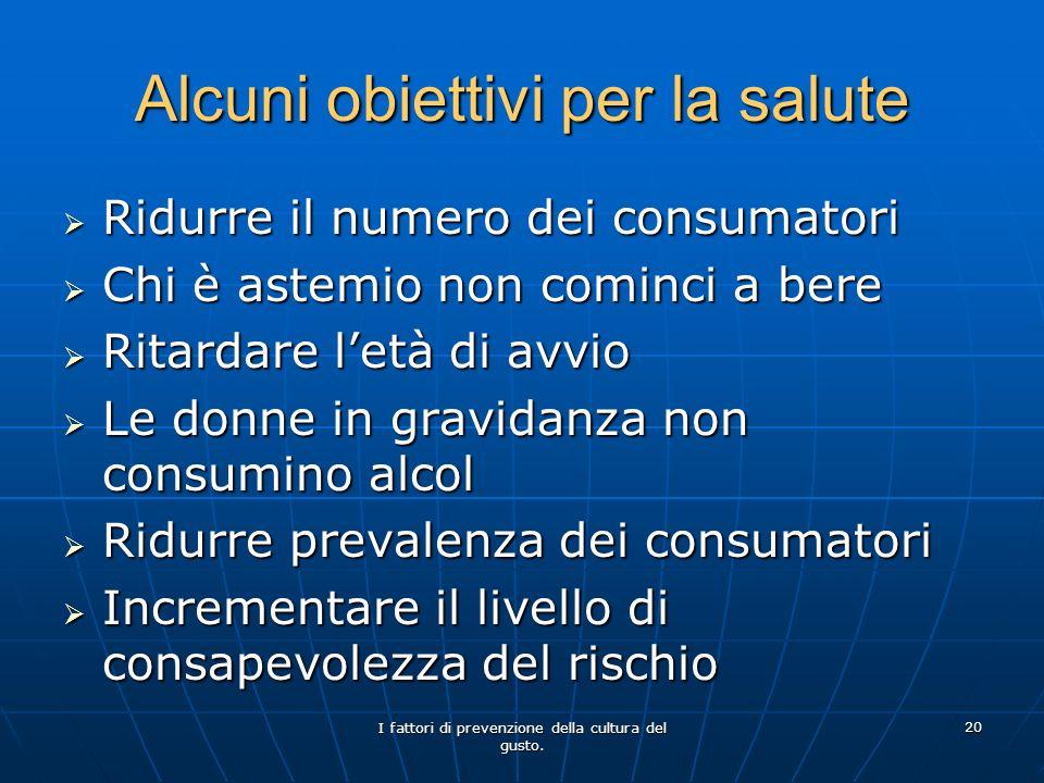 Alcuni obiettivi per la salute