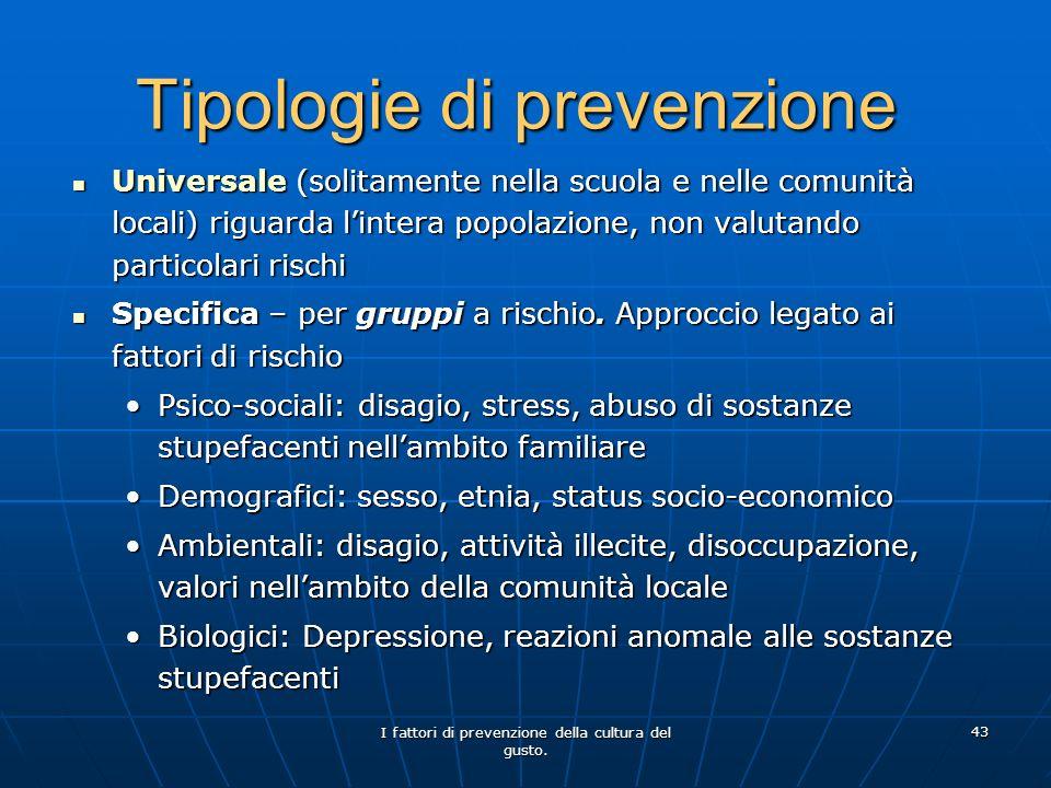 Tipologie di prevenzione