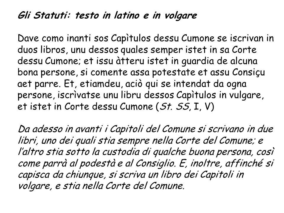 Gli Statuti: testo in latino e in volgare