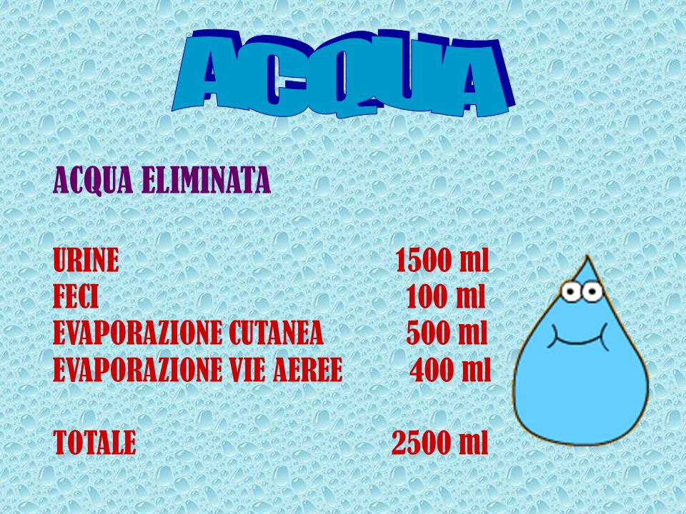 ACQUA ACQUA ELIMINATA URINE 1500 ml FECI 100 ml
