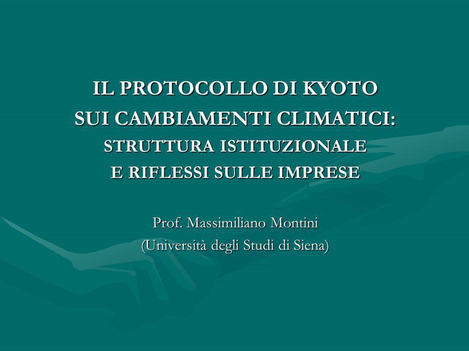 IL PROTOCOLLO DI KYOTO SUI CAMBIAMENTI CLIMATICI:
