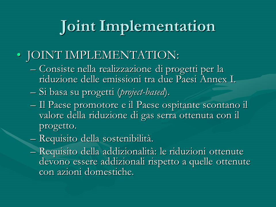 Joint Implementation JOINT IMPLEMENTATION: