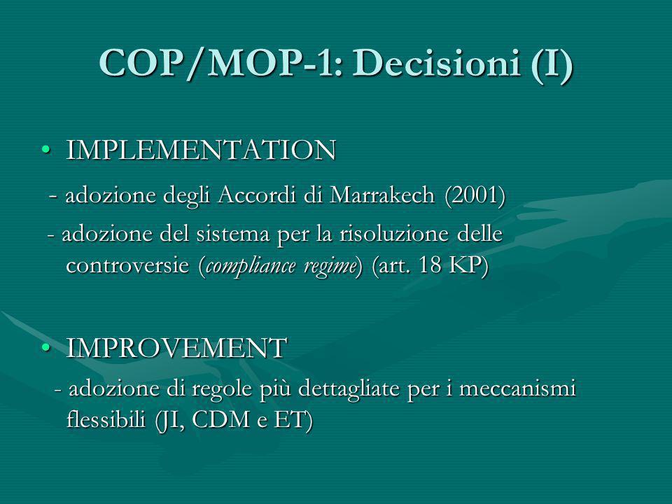 COP/MOP-1: Decisioni (I)