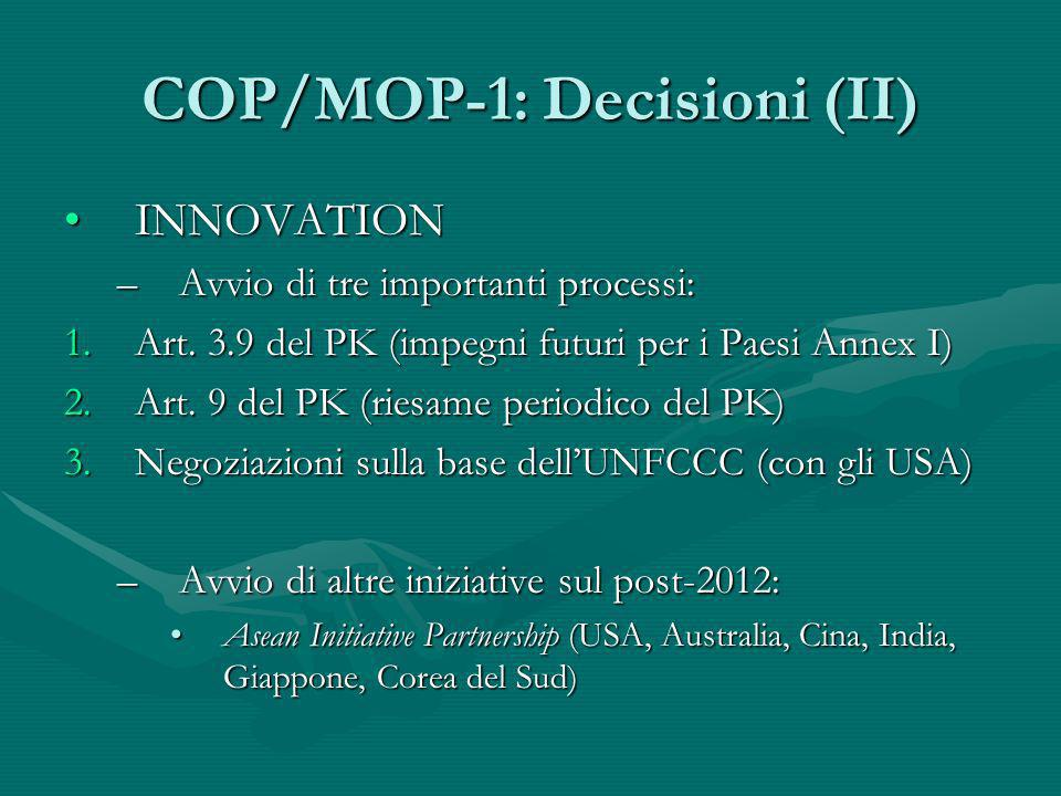 COP/MOP-1: Decisioni (II)