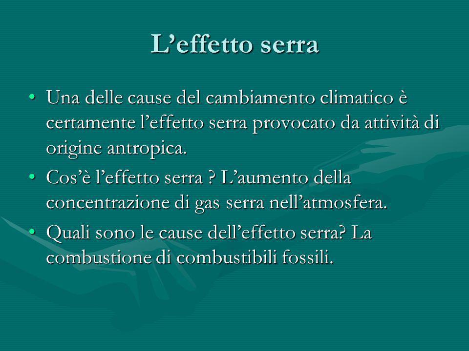 L'effetto serra Una delle cause del cambiamento climatico è certamente l'effetto serra provocato da attività di origine antropica.