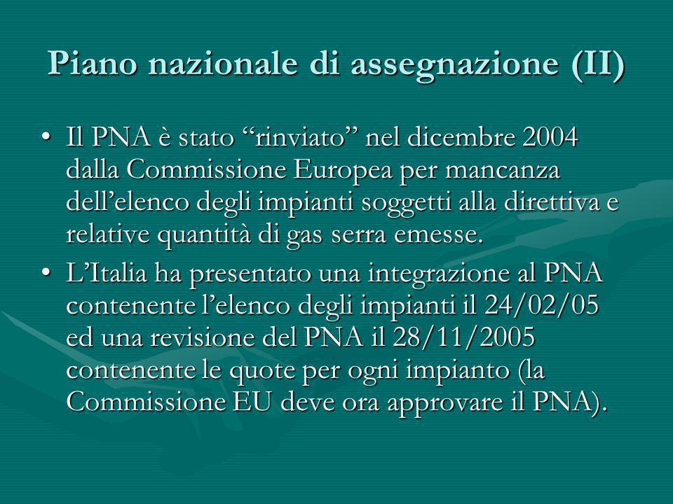 Piano nazionale di assegnazione (II)