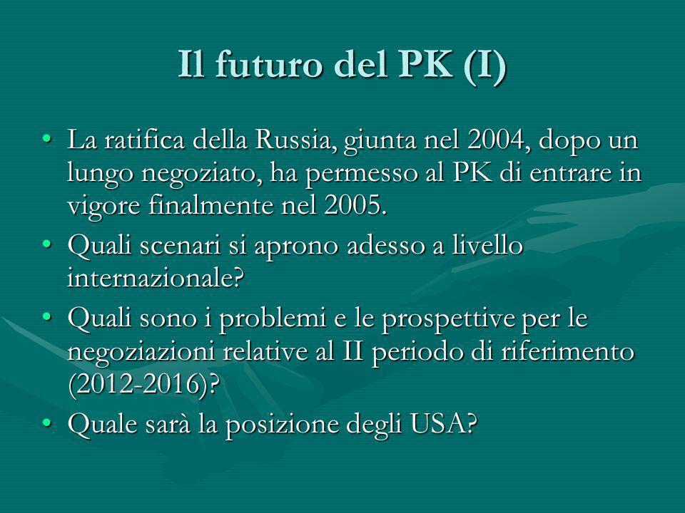 Il futuro del PK (I) La ratifica della Russia, giunta nel 2004, dopo un lungo negoziato, ha permesso al PK di entrare in vigore finalmente nel 2005.