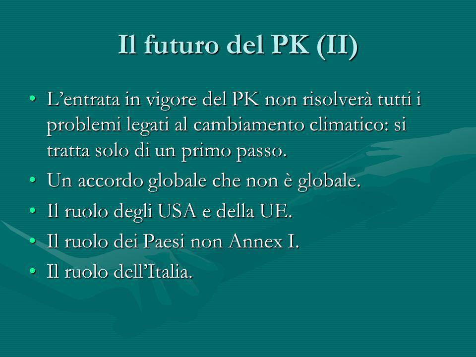 Il futuro del PK (II) L'entrata in vigore del PK non risolverà tutti i problemi legati al cambiamento climatico: si tratta solo di un primo passo.