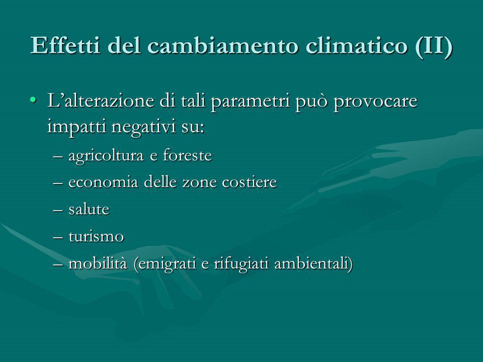 Effetti del cambiamento climatico (II)
