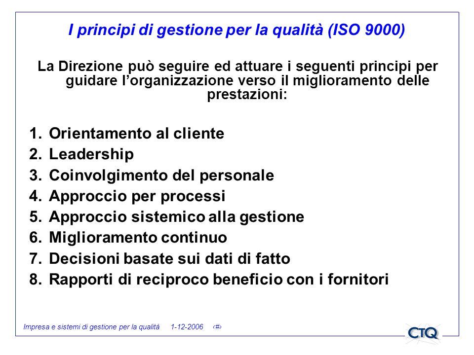 I principi di gestione per la qualità (ISO 9000)