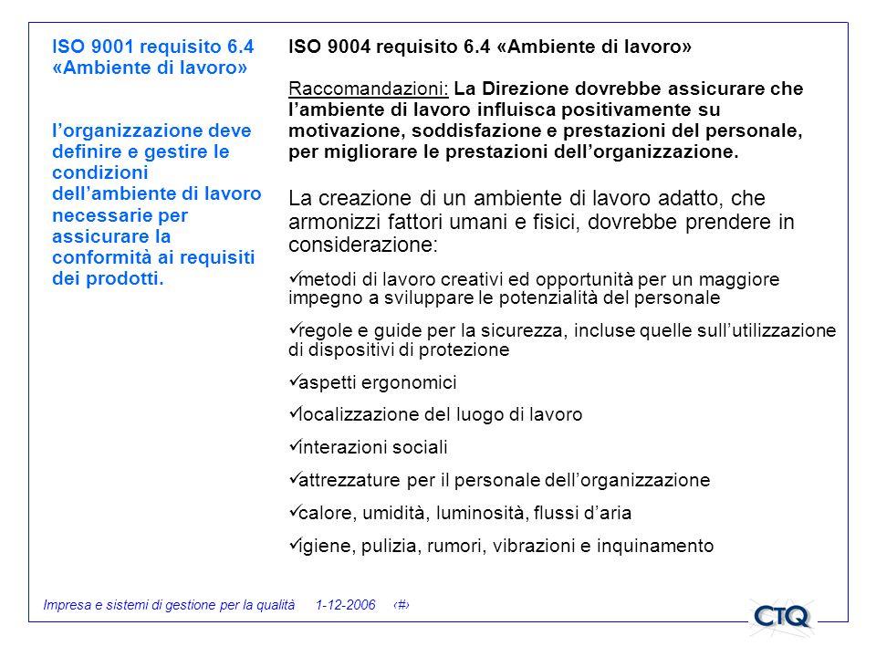 ISO 9001 requisito 6.4 «Ambiente di lavoro»