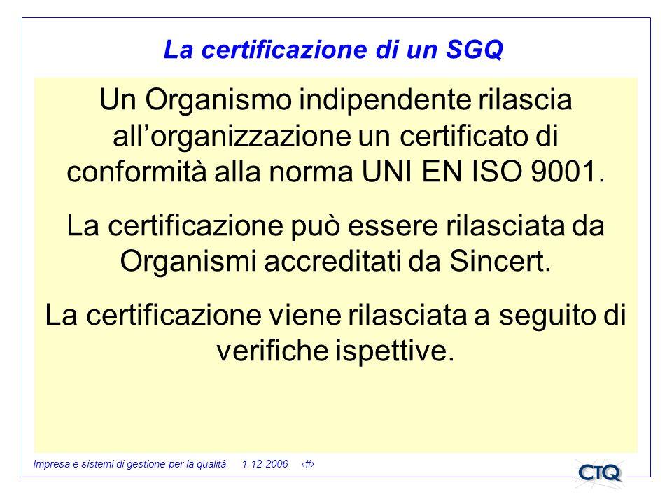 La certificazione di un SGQ