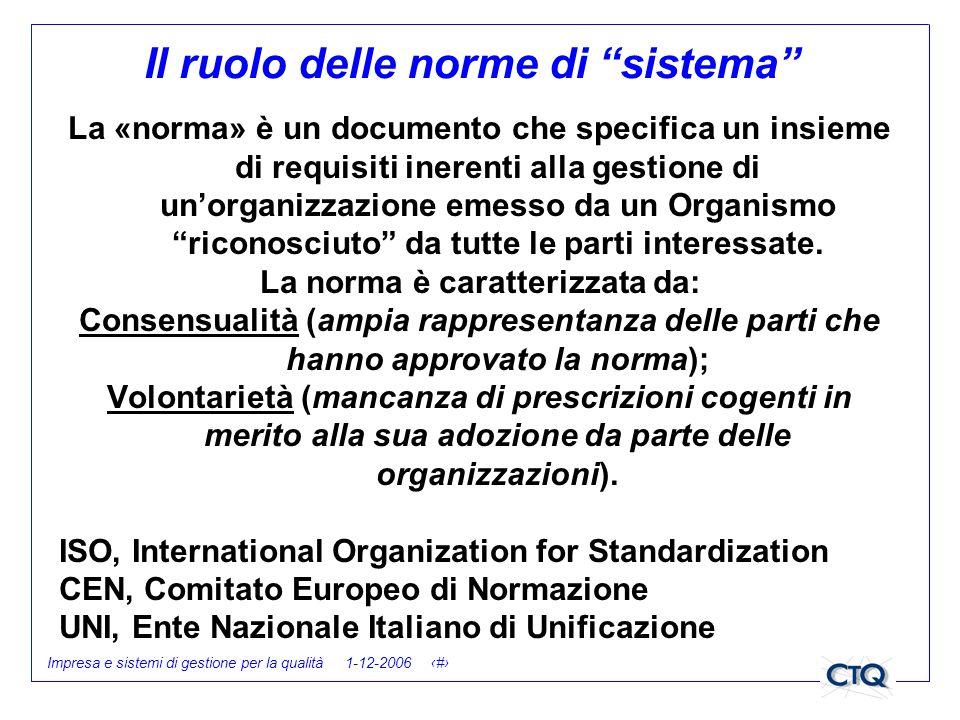 Il ruolo delle norme di sistema