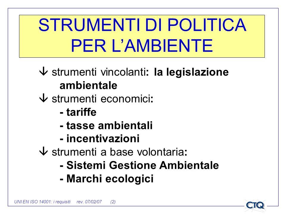 STRUMENTI DI POLITICA PER L'AMBIENTE