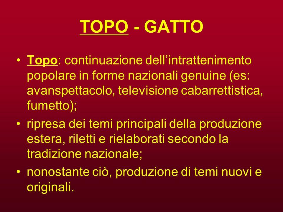 TOPO - GATTO Topo: continuazione dell'intrattenimento popolare in forme nazionali genuine (es: avanspettacolo, televisione cabarrettistica, fumetto);