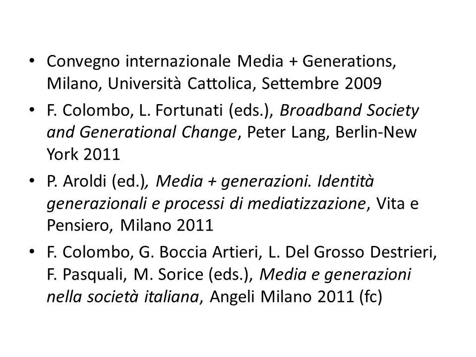 Convegno internazionale Media + Generations, Milano, Università Cattolica, Settembre 2009