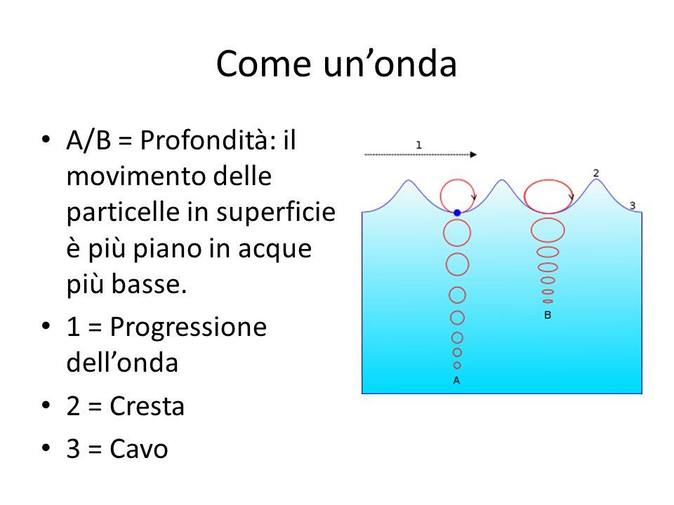 Come un'onda A/B = Profondità: il movimento delle particelle in superficie è più piano in acque più basse.