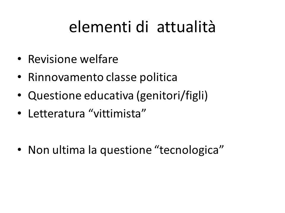 elementi di attualità Revisione welfare Rinnovamento classe politica