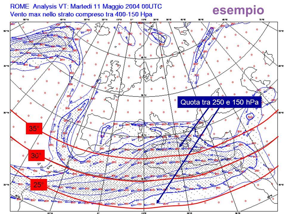 esempio Quota tra 250 e 150 hPa 35° 30° 25°