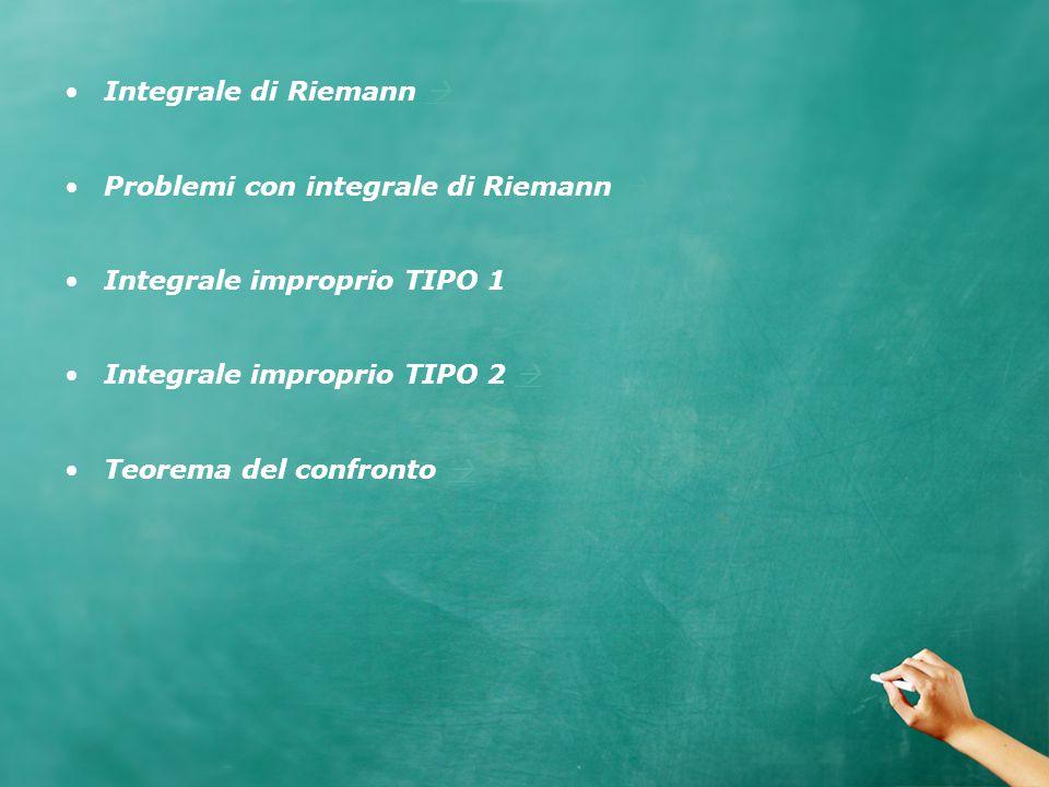 Integrale di Riemann  Problemi con integrale di Riemann  Integrale improprio TIPO 1  Integrale improprio TIPO 2 