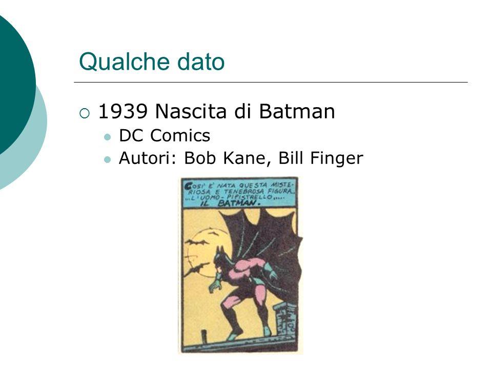 Qualche dato 1939 Nascita di Batman DC Comics