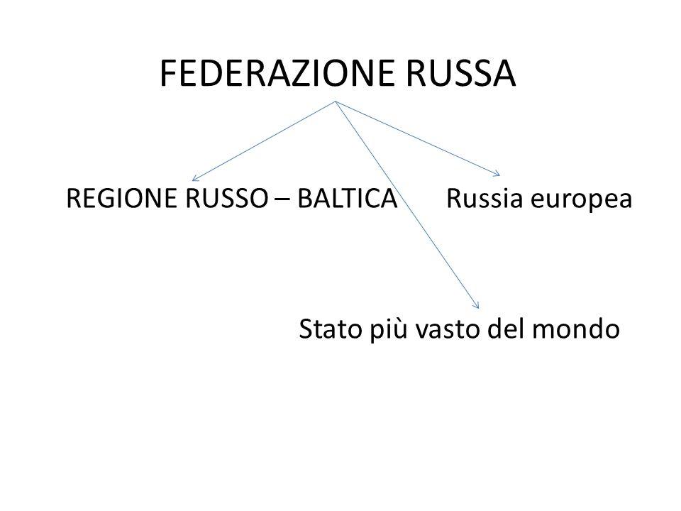 REGIONE RUSSO – BALTICA Russia europea Stato più vasto del mondo