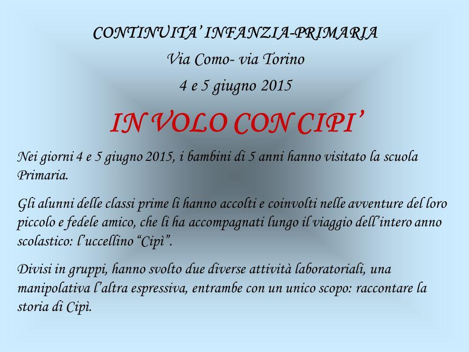 CONTINUITA' INFANZIA-PRIMARIA Via Como- via Torino 4 e 5 giugno 2015
