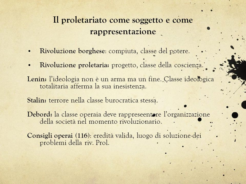 Il proletariato come soggetto e come rappresentazione