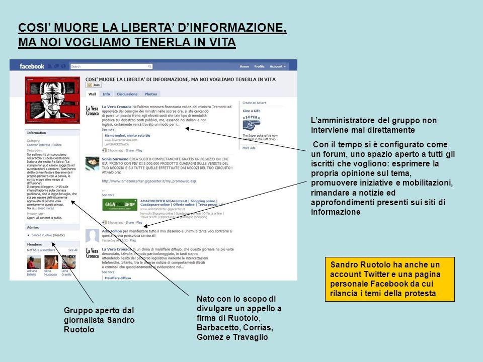 COSI' MUORE LA LIBERTA' D'INFORMAZIONE, MA NOI VOGLIAMO TENERLA IN VITA