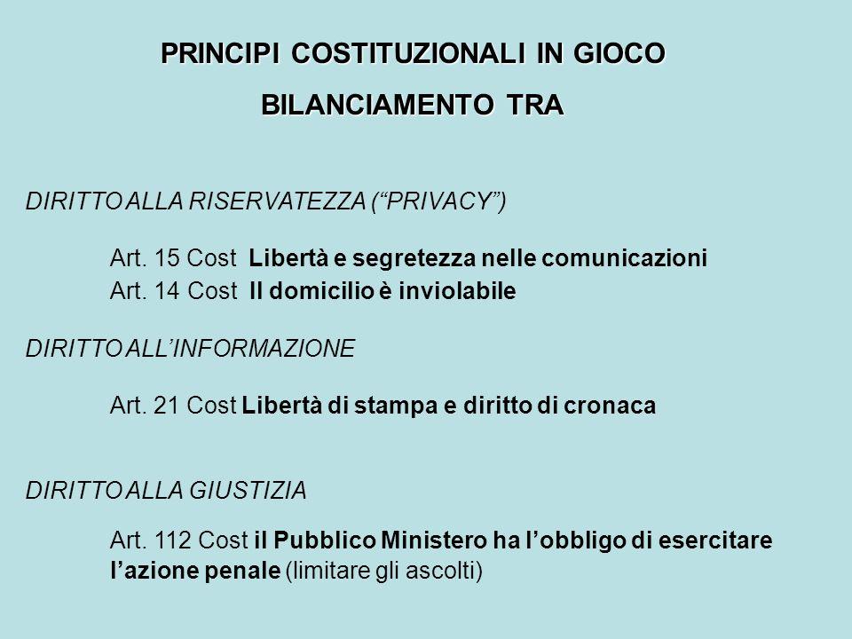 PRINCIPI COSTITUZIONALI IN GIOCO