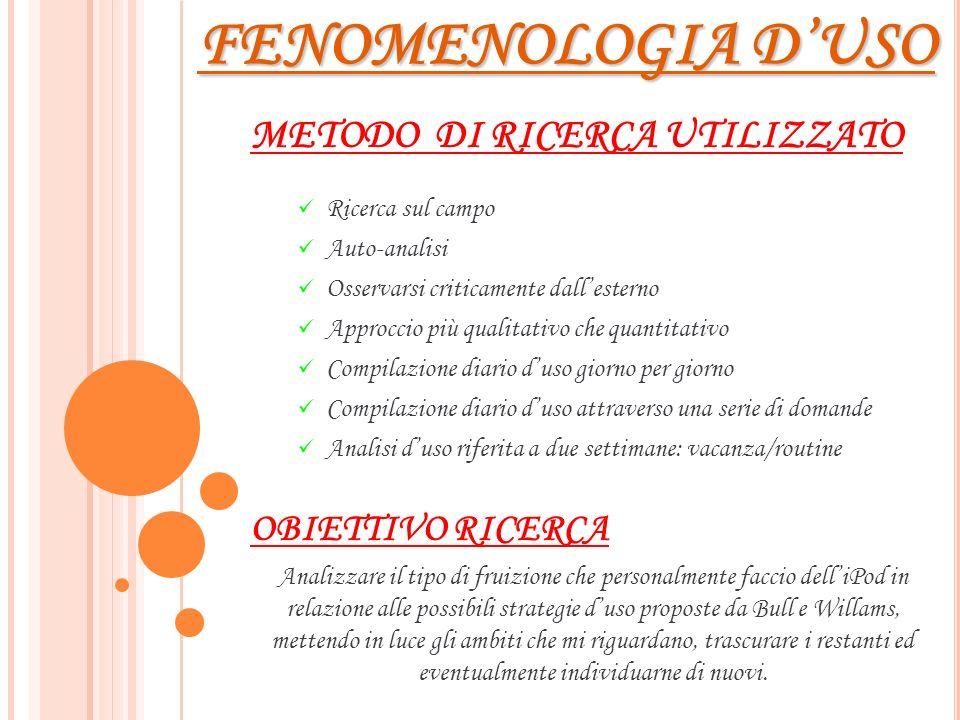 FENOMENOLOGIA D'USO METODO DI RICERCA UTILIZZATO OBIETTIVO RICERCA