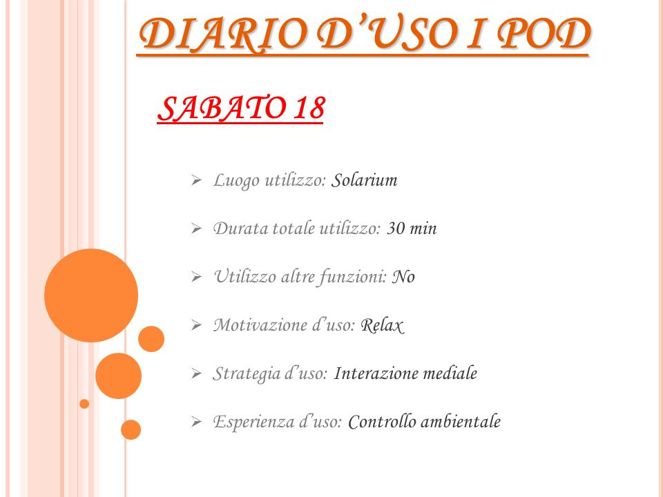 DIARIO D'USO I POD SABATO 18 Luogo utilizzo: Solarium