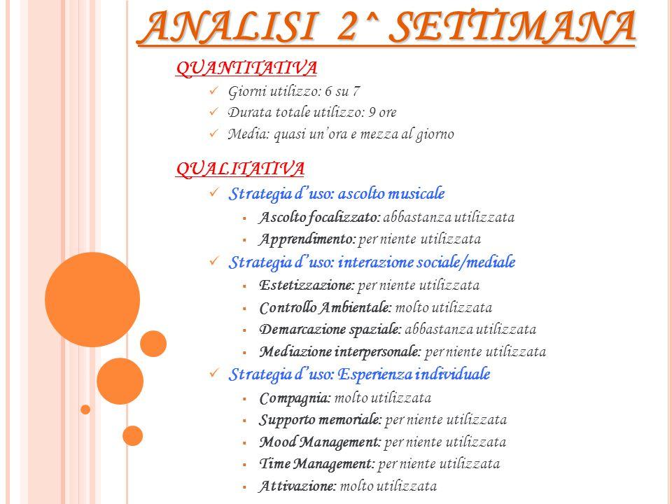 ANALISI 2^ SETTIMANA QUANTITATIVA QUALITATIVA