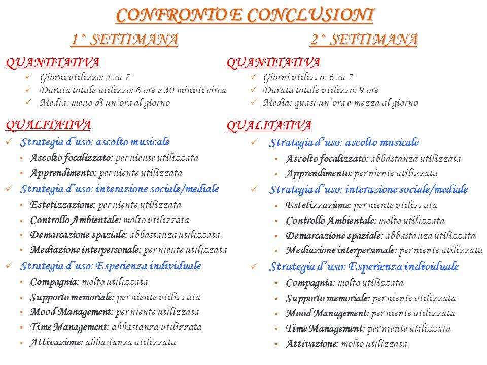 CONFRONTO E CONCLUSIONI