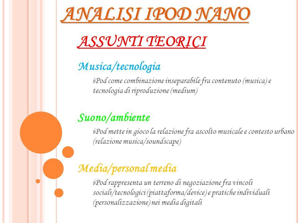 ANALISI IPOD NANO ASSUNTI TEORICI Musica/tecnologia Suono/ambiente
